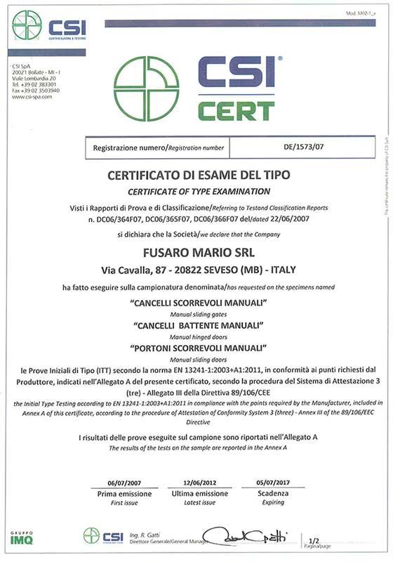 Certificato CSI CERT