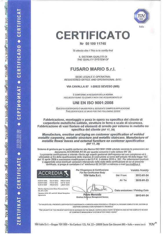 Certificato UNI ISO 9001