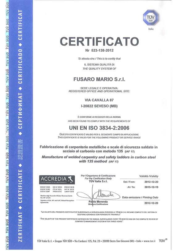 Certificato UNI ISO 2008